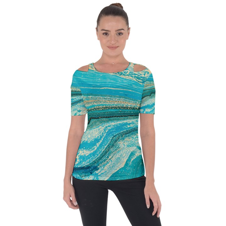 Mint,gold,marble,nature,stone,pattern,modern,chic,elegant,beautiful,trendy Short Sleeve Top