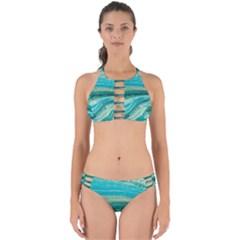 Mint,gold,marble,nature,stone,pattern,modern,chic,elegant,beautiful,trendy Perfectly Cut Out Bikini Set