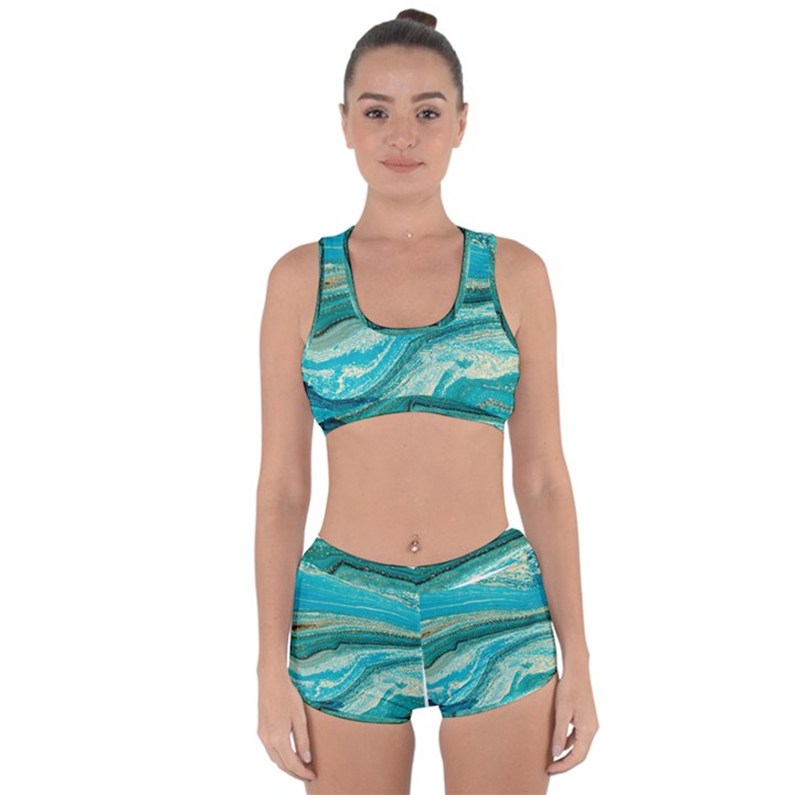 Mint,gold,marble,nature,stone,pattern,modern,chic,elegant,beautiful,trendy Racerback Boyleg Bikini Set