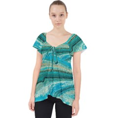 Mint,gold,marble,nature,stone,pattern,modern,chic,elegant,beautiful,trendy Lace Front Dolly Top