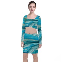 Mint,gold,marble,nature,stone,pattern,modern,chic,elegant,beautiful,trendy Long Sleeve Crop Top & Bodycon Skirt Set