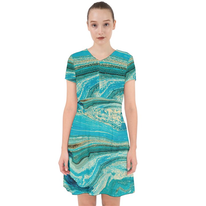 Mint,gold,marble,nature,stone,pattern,modern,chic,elegant,beautiful,trendy Adorable in Chiffon Dress