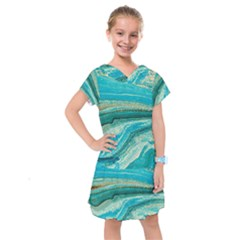 Mint,gold,marble,nature,stone,pattern,modern,chic,elegant,beautiful,trendy Kids  Drop Waist Dress