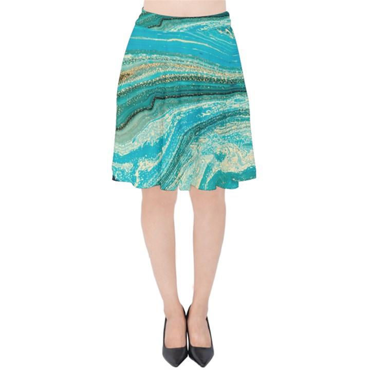 Mint,gold,marble,nature,stone,pattern,modern,chic,elegant,beautiful,trendy Velvet High Waist Skirt