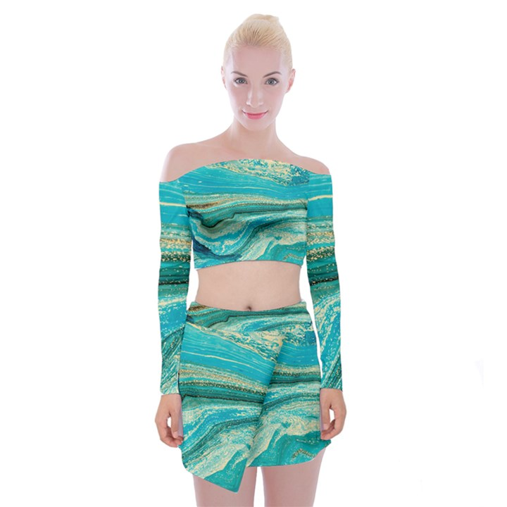 Mint,gold,marble,nature,stone,pattern,modern,chic,elegant,beautiful,trendy Off Shoulder Top with Mini Skirt Set