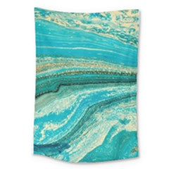 Mint,gold,marble,nature,stone,pattern,modern,chic,elegant,beautiful,trendy Large Tapestry
