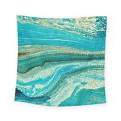 Mint,gold,marble,nature,stone,pattern,modern,chic,elegant,beautiful,trendy Square Tapestry (small)
