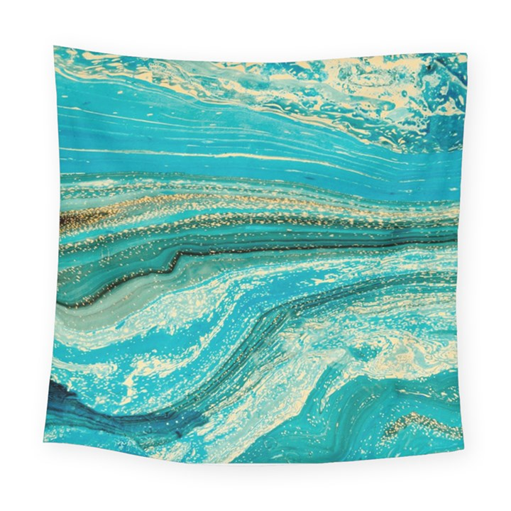 Mint,gold,marble,nature,stone,pattern,modern,chic,elegant,beautiful,trendy Square Tapestry (Large)