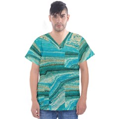 Mint,gold,marble,nature,stone,pattern,modern,chic,elegant,beautiful,trendy Men s V Neck Scrub Top