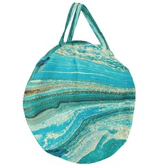 Mint,gold,marble,nature,stone,pattern,modern,chic,elegant,beautiful,trendy Giant Round Zipper Tote