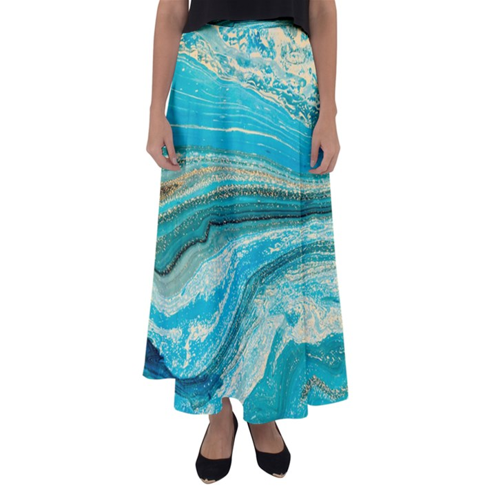 Mint,gold,marble,nature,stone,pattern,modern,chic,elegant,beautiful,trendy Flared Maxi Skirt