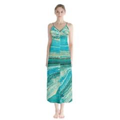 Mint,gold,marble,nature,stone,pattern,modern,chic,elegant,beautiful,trendy Button Up Chiffon Maxi Dress