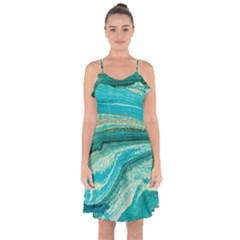 Mint,gold,marble,nature,stone,pattern,modern,chic,elegant,beautiful,trendy Ruffle Detail Chiffon Dress