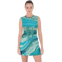Mint,gold,marble,nature,stone,pattern,modern,chic,elegant,beautiful,trendy Lace Up Front Bodycon Dress