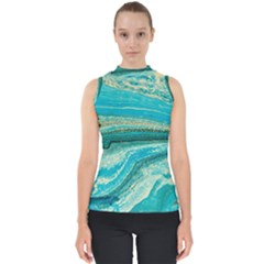 Mint,gold,marble,nature,stone,pattern,modern,chic,elegant,beautiful,trendy Shell Top