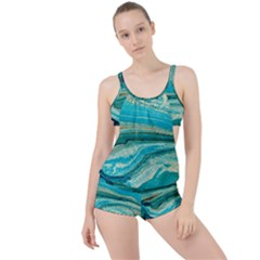 Mint,gold,marble,nature,stone,pattern,modern,chic,elegant,beautiful,trendy Boyleg Tankini Set