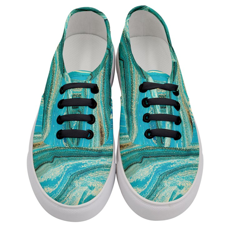 Mint,gold,marble,nature,stone,pattern,modern,chic,elegant,beautiful,trendy Women s Classic Low Top Sneakers