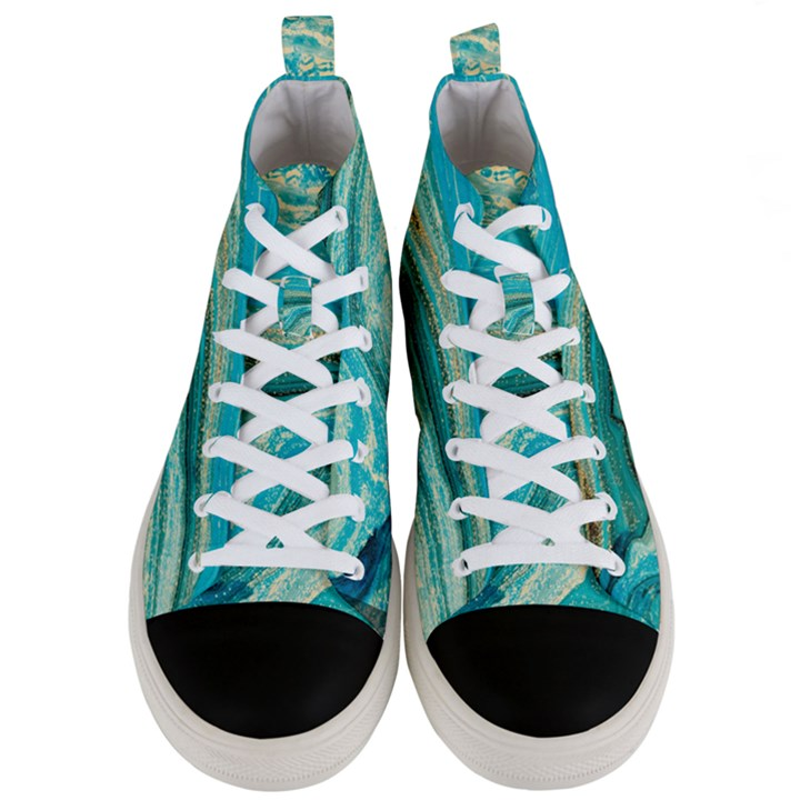 Mint,gold,marble,nature,stone,pattern,modern,chic,elegant,beautiful,trendy Men s Mid-Top Canvas Sneakers