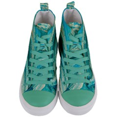Mint,gold,marble,nature,stone,pattern,modern,chic,elegant,beautiful,trendy Women s Mid Top Canvas Sneakers