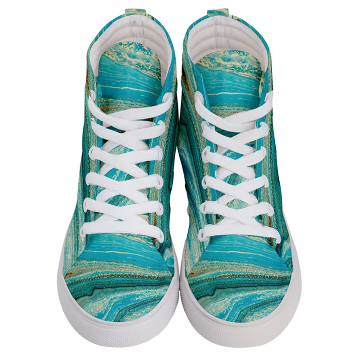 Mint,gold,marble,nature,stone,pattern,modern,chic,elegant,beautiful,trendy Men s Hi-Top Skate Sneakers