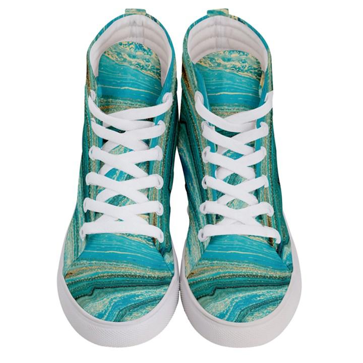 Mint,gold,marble,nature,stone,pattern,modern,chic,elegant,beautiful,trendy Women s Hi-Top Skate Sneakers