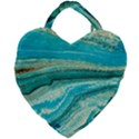 Mint,gold,marble,nature,stone,pattern,modern,chic,elegant,beautiful,trendy Giant Heart Shaped Tote View1
