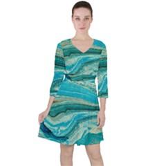 Mint,gold,marble,nature,stone,pattern,modern,chic,elegant,beautiful,trendy Ruffle Dress