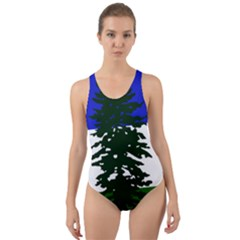 Flag Of Cascadia Cut Out Back One Piece Swimsuit