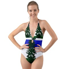 Flag Of Cascadia Halter Cut Out One Piece Swimsuit