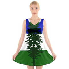 Flag Of Cascadia V Neck Sleeveless Skater Dress