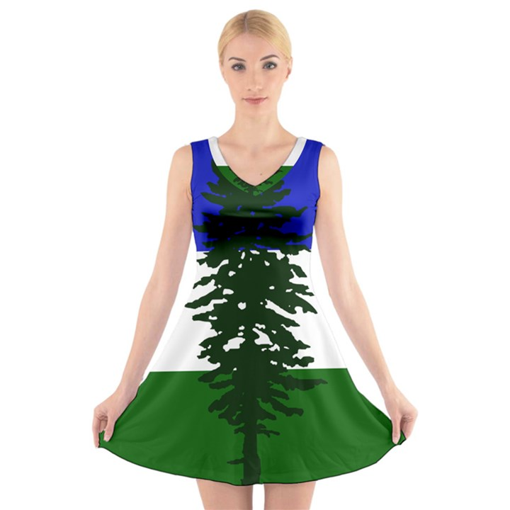 Flag of Cascadia V-Neck Sleeveless Skater Dress