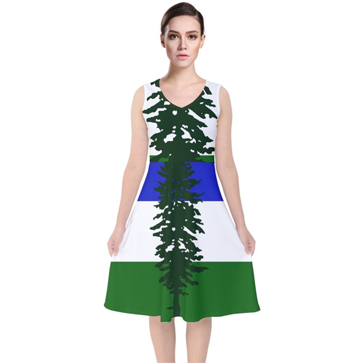 Flag of Cascadia V-Neck Midi Sleeveless Dress