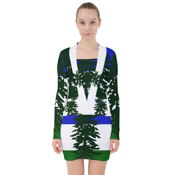 Flag of Cascadia V-neck Bodycon Long Sleeve Dress