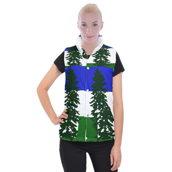 Flag of Cascadia Women s Button Up Puffer Vest