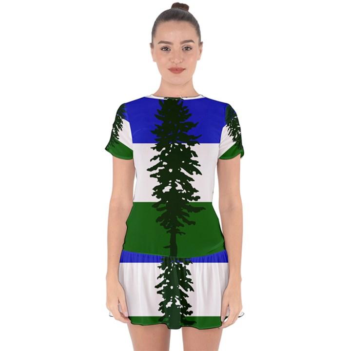 Flag of Cascadia Drop Hem Mini Chiffon Dress