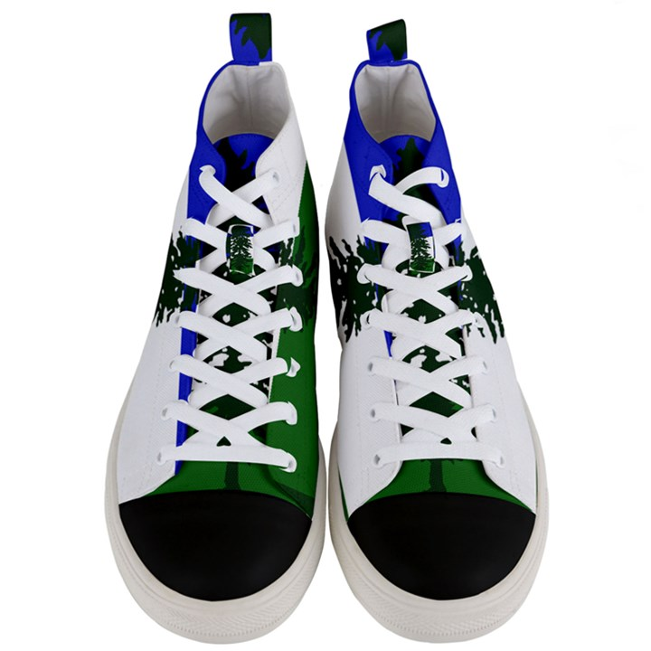 Flag of Cascadia Men s Mid-Top Canvas Sneakers