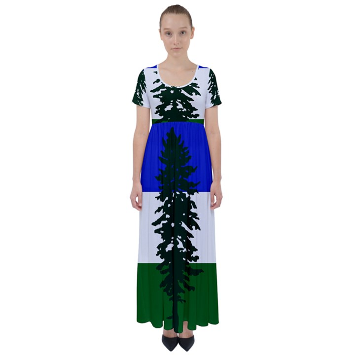 Flag of Cascadia High Waist Short Sleeve Maxi Dress