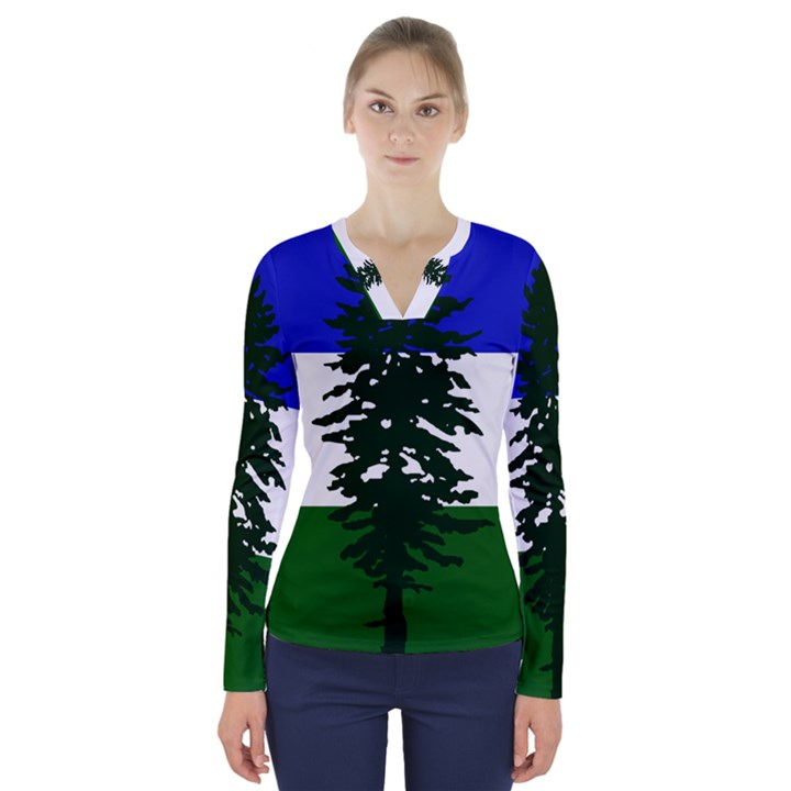 Flag of Cascadia V-Neck Long Sleeve Top