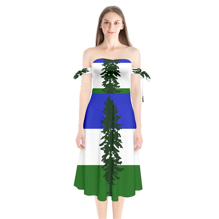 Flag of Cascadia Shoulder Tie Bardot Midi Dress
