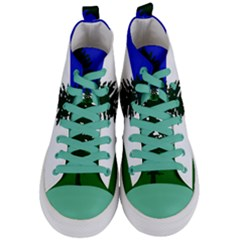 Flag Of Cascadia Women s Mid Top Canvas Sneakers