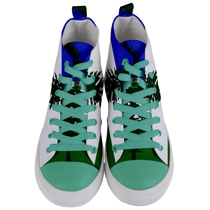 Flag of Cascadia Women s Mid-Top Canvas Sneakers