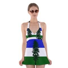 Flag Of Cascadia Halter Dress Swimsuit