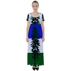 Flag Of Cascadia High Waist Short Sleeve Maxi Dress