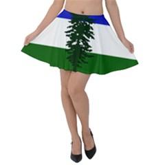 Flag Of Cascadia Velvet Skater Skirt