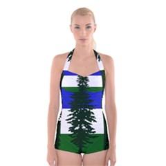 Flag Of Cascadia Boyleg Halter Swimsuit