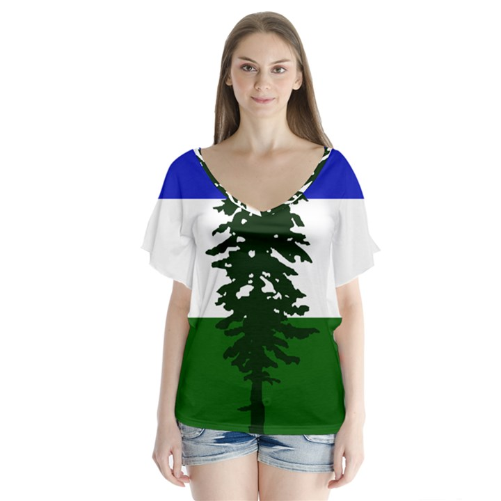 Flag of Cascadia V-Neck Flutter Sleeve Top