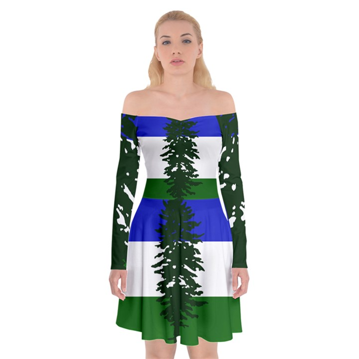 Flag of Cascadia Off Shoulder Skater Dress