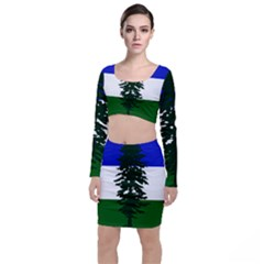 Flag Of Cascadia Long Sleeve Crop Top & Bodycon Skirt Set