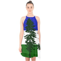 Flag Of Cascadia Halter Collar Waist Tie Chiffon Dress