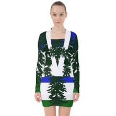 Flag Of Cascadia V Neck Bodycon Long Sleeve Dress